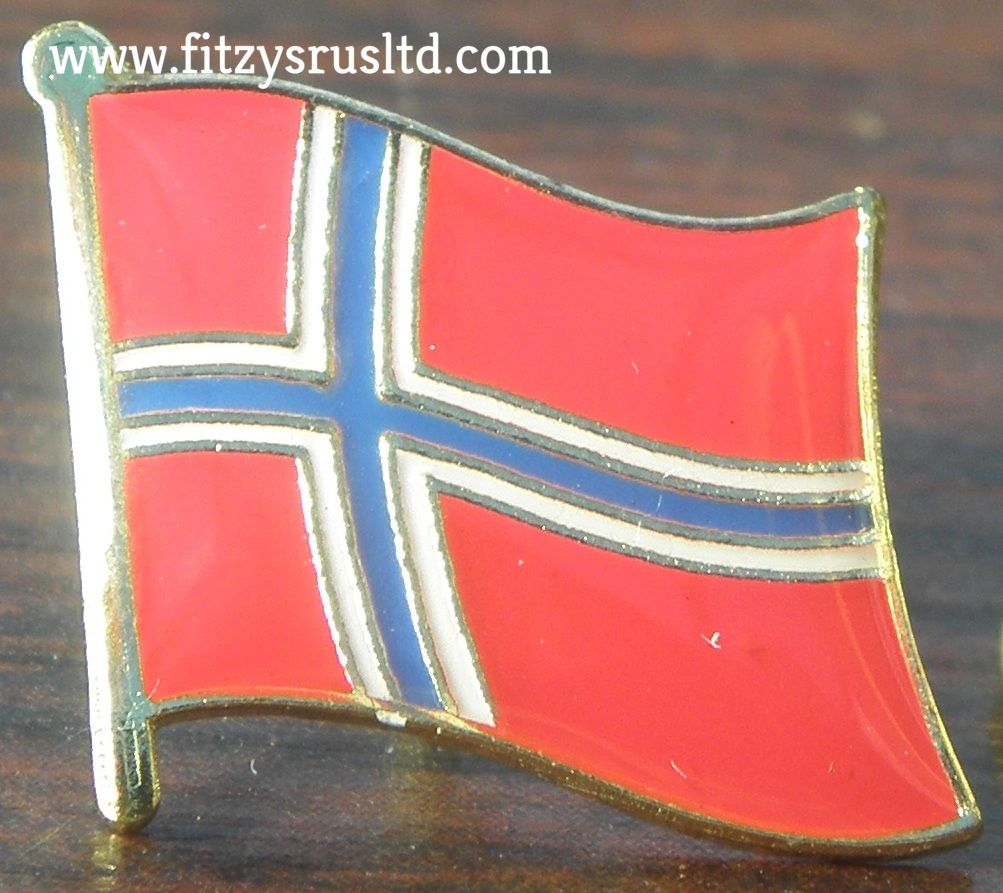 norwegian country flag lapel hat cap tie pin badge kongeriket